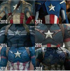 Captain America suit changes over the years Avengers Steve Rogers, Marvel Dc Comics, Marvel Heroes, Marvel Avengers, James Barnes, Dc Movies, Marvel Movies, Superhero Movies, Logo Superman