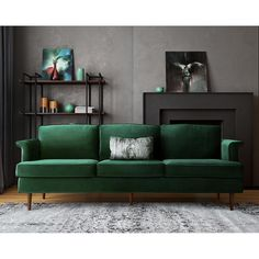 TOV Furniture Modern Porter Forest Green Velvet Sofa TOV-S147 With a nod to Mid-century design, we created our gorgeous Porter sofa. The high density foam cushions provide maximum support and comfort
