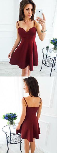 Sleeveless Homecoming Dress, Spaghetti Straps Homecoming Dress, Sexy Junior School Dress, Knee-Length Homecoming Dress