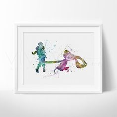 Tangled Rapunzel Princess Nursery Art Print Wall Decor. This art illustration is a composition of digital watercolor images and silhouettes in a minimalist style.