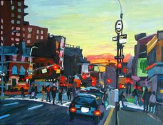 NYC Village At Dusk, Fine Art Print New York Cityscape night neon color nighttime Painting by Gwen Meyerson New York Cityscape, Orange Art, Nyc Art, New York Art, Greenwich Village, West Village, Subway Art, Types Of Art, Fine Art Paper