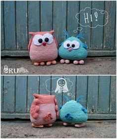 Amigurumi Crochet Owls... In love with them. But I think this will work with felt.  And they are SOOOO cute..