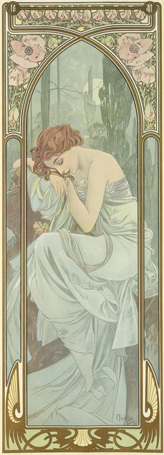 'Repos de Nuit' (Night's Rest) from the Times of Day series. (1889) - Alphonse Mucha (1860-1939)