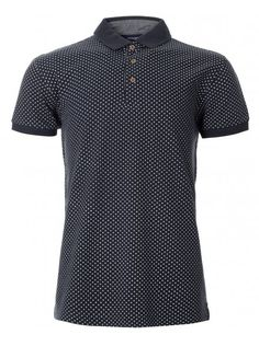 Short sleeve navy polo shirt with diamond geometric print pattern all-over and wooden button detailing. Navy Polo Shirt, T Shirt, Diamond Pattern, Indigo, Print Patterns, Polo Ralph Lauren, Stylish, Mens Tops, Blue