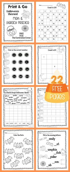 FREEBIE! 22 Halloween Print & Go Math and Literacy Pages | The Curriculum Corner | morning work | Kindergarten | 1st Grade