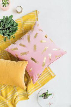 DIY gold foil brushstroke pillow