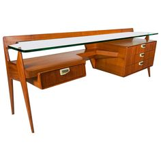 Stilysh Italian 1950s Cherry Chest and Desk by Maspero Galdino Cantù Milano   From a unique collection of antique and modern desks at https://www.1stdibs.com/furniture/storage-case-pieces/desks/