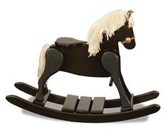 Amish Small Deluxe Rocking Horse With Painted Sports