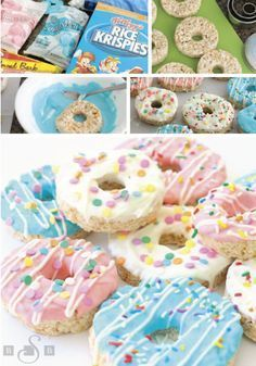 These Donut Rice Krispies Treats® are one adorable dessert recipe that would be perfect for a themed birthday party or a sleepover. Use Rice Krispies® cereal, marshmallows, and vanilla to create the b Donut Birthday Parties, Donut Party, Snacks Für Party, Birthday Desserts, Diy Birthday Treats, Donut Birthday Cakes, Diy Party Desserts, Dessert Ideas For Party, 7th Birthday Party For Girls Themes