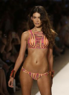 Eclectic swimsuit at Miami Fashion Week