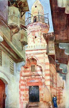 A Street in Cairo 1907  By W. S. S. TYRWHITT, R.B.A Walte Tyrwhitt (British ,1859-1932)  Watercolor on paper