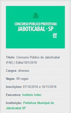 São abertas inscrições do Concurso Público de Jaboticabal, destinado a contratar profissionais para a Fundação de Amparo ao Esporte (FAE).