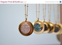ON SALE CALLISTO Moon /// Handcrafted Druzy Necklace /// Electroformed 24kt Gold /// Layering, Boho, Accessories, Handmade, Women's, Necklac on Etsy, $63.75