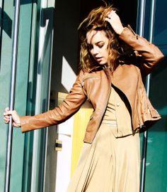Fashion blogger #TheGlamourai wears our signature tan leather jacket.