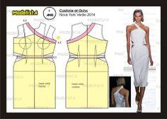 Modelagem de vestido Cushnie et Ochs. NYV 2014. Fonte: https://www.facebook.com/photo.php?fbid=566555443380365&set=a.426468314055746.87238.422942631074981&type=1&theater