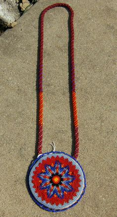 Native American style beaded medallion necklace by isisbeadwork