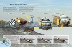 """Well, this should be interesting. stay tuned for the operation later this month! Costa Concordia Salvage Plan: Flip the Ship and Float It Away [Illustration by Don Foley; for """"Raising the Wreck"""" by Barbie Latza Nadeau; Scientific American Magazine, Costa, Isometric Art, Marine Conservation, Information Graphics, Shipwreck, Concorde, Engineering, Studios"""
