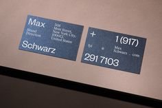 Visual identity for a brand director Max Schwarz designed by Hamburg based design studio rasmus und christin. Via rasmusundchristin. Business Branding, Logo Branding, Branding Design, Logo Design, Brand Identity, Layout Design, Design Art, Cool Business Cards, Business Card Design