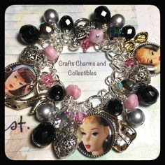 Gift for women, charm bracelet, Vintage Barbie Doll , Altered Art Charm Bracelet , Handmade jewelry,  OOAK, Bostoncharm, retro, kitsch - pinned by pin4etsy.com