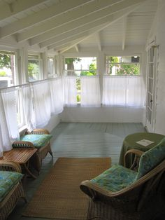 enclosed sun room | Enclosed sunroom off the front deck complete with wicker furniture and ...