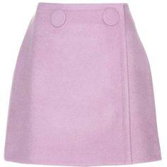 Stella McCartney Wool-Blend Wrap Skirt ($370) ❤ liked on Polyvore featuring skirts, bottoms, saias, purple, short skirts, pink mini skirt, purple skirt, short mini skirts and pink wrap skirt