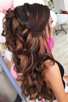 elstile wedding hairstyles half up half down curly dark hair elstile