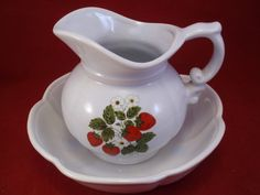 Mc Coy Strawberry Vintage Pitcher and Bowl Set