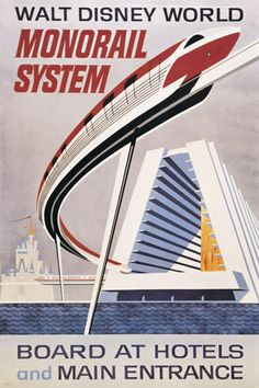 Walt Disney World Monorail System vintage poster