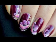 Nail art Flower zhostovo - YouTube