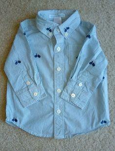 JANIE & JACK BABY BOY 3-6 Mos Long Sleeve Striped Light blue Button Down Shirt #JanieandJack #DressyEverydayHoliday