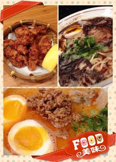 Fried chicken, pork belly ramen with black sesame oil, spicy tantan- pork belly n minced meat ramen n egg @santosei ramen