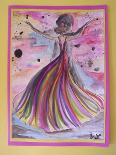A Pretty Talent Blog: Cardmaking - Watercolours & Ink: Dancing Couple Dancing Couple, Liquid Ink, Ink Splatter, Dip Pen, Complimentary Colors, Painting Process, Shades Of Yellow, Watercolor And Ink, Watercolours