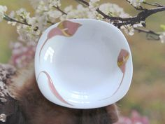 Vintage Fruit Dessert Bowl Fine China Pink Gold by NostalgicFair