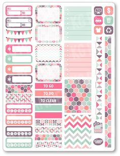 Planner & Journaling Printables ❤☔Pastels Functional Kit Planner Stickers for Erin Condren Planner, Filofax, Plum Paper To Do Planner, Free Planner, Erin Condren Life Planner, Planner Pages, Happy Planner, Planner Ideas, Printable Planner Stickers, Journal Stickers, Planner Supplies