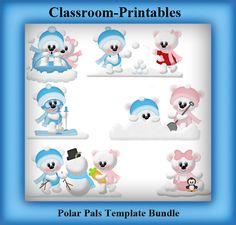 Clipart Templates for Scrapbooking.    Polar Pals Clipart Template Bundle. For Digital Scrapbooking, Clipart, Creating Cards & Printables.    Comes PSD Format  For Use in Photoshop and Graphics Programs