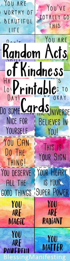 random acts of kindness cards #RAOK #randomactsofkindness #printable