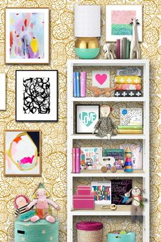 vibrant and fun art  bookshelf styling