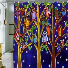 Renie Britenbucher Owl Party Shower Curtain by Deny Designs!