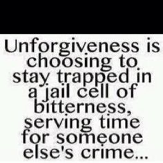 Forgive and you shall be forgiven .. Bless those that hurt you and set yourself free ..