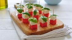 Keep your cool with these bites made of watermelon and feta.