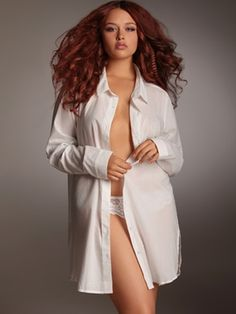 Sensuality meets simplicity.     There is nothing more alluring and effortlessly sexy than a curvaceous woman in a white men's shirt. Now you can seduce him in simple style without stealing his.     Tailored Men's Wear Look Sleepshirt. 100% Cotton. Button down front and cuffs.
