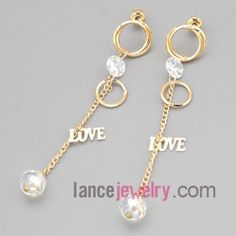 Romantic earrings with gold zinc  alloy rings decorated shiny rhinestone and chain pendant with love letters