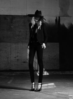 YSL SAINT LAURENT PARIS SS SPRING SUMMER 2013 Julia Nobis Hedi Slimane AD CAMPAIGN LOOKBOOK DARK MOODY LARGE BRIMMED HAT EMBELLISHED JACKET BOLERO TUXEDO JACKET LONG PENDANT NECKLACE LACE SKINNY BLACK PANTS STRAP PUMPS HEELS PUSSY BOWS SEQUINS LEATHER MOTO JACKET RUFFLE SHIRT T STRAP PUMPS HEELS SUNGLASSES SKINNY BELT 7