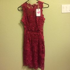 NWT Beautiful red lace dress. Sheer back. Size small, sexy red dress. Dresses Backless