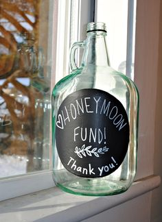 Honeymoon Fund jar, to place near the drinks during the reception #SeptemberWeddingIdeas