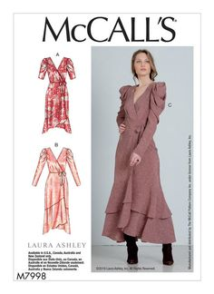 McCall Pattern Company McCall's Women's Wrap Dress Sewing Patterns by Laura Ashley, Sizes Clothing Patterns, Dress Patterns, Laura Ashley Patterns, Miss Dress, Mccalls Sewing Patterns, Size 14 Dresses, Wrap Dresses, Wraps, Sewing Projects
