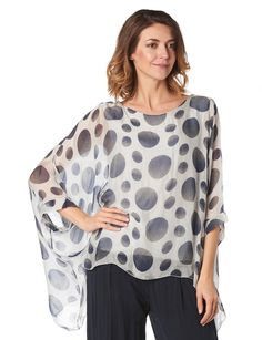 Silk polka dot cape blouse by Froccella