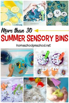 Encourage sensory exploration this summer by creating these awesome summer sensory bins! Themes include oceans, gardens, and so much more! Sensory Tubs, Sensory Boxes, Sensory Activities, Hands On Activities, Sensory Play, Infant Activities, Preschool Activities, Sensory Diet, Preschool Classroom