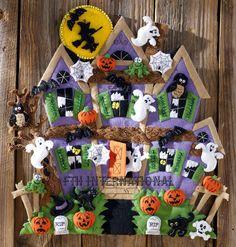 Bucilla Haunted House ~ Felt Halloween Wall Hanging Kit #86560 Witch Ghosts Bats #Bucilla #WallHanging