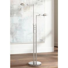Possini Euro Journey Satin Nickel Swing Arm LED Floor Lamp